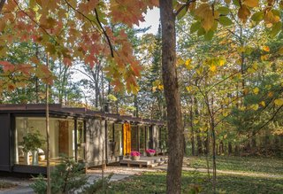 With large spans of glazing, this transparent home fully embraces its forested setting.