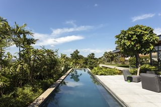 The linear swimming pool hovers above the hillside, disappearing into the tropical foliage.