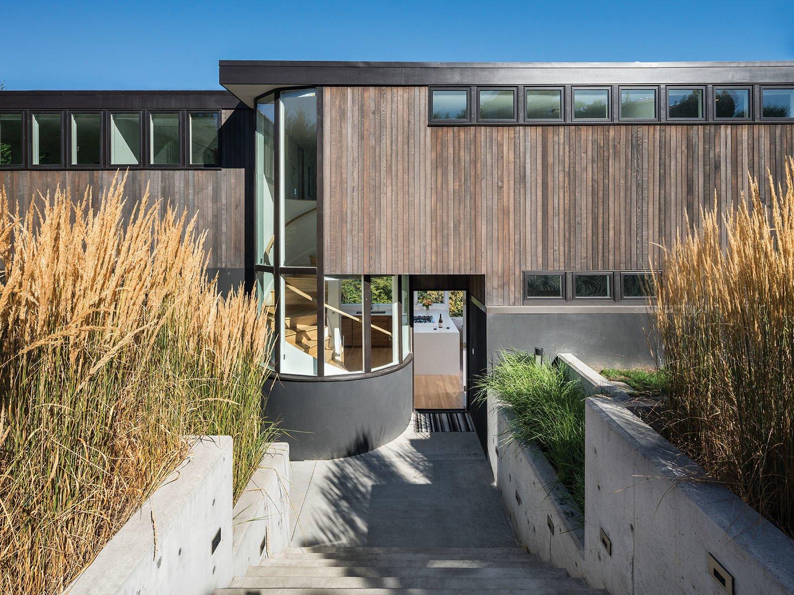 Sinclair House wood, stucco, and concrete exterior