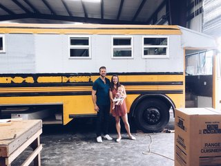 Before: The Blue Bird All American school bus was  decked out in the traditional yellow, black, and white hues.