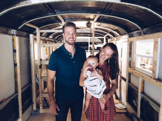 Wind River Tiny Homes helped this young family transform an open bus shell into functional living spaces.  Every square inch of the bus was maximized for the best use.
