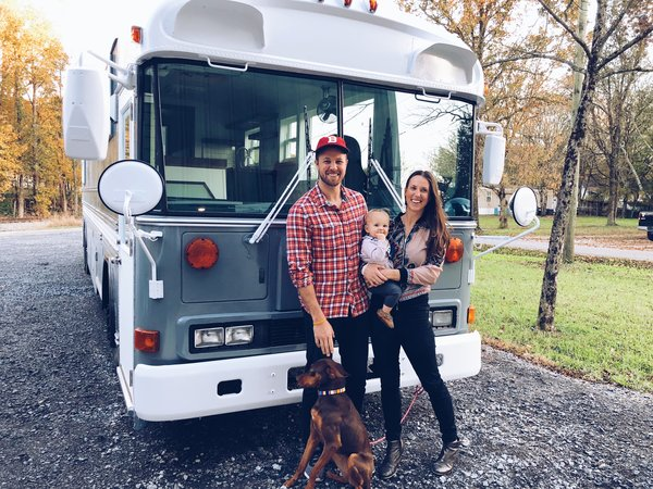 Before & After: A Classic School Bus Becomes This Family of Four's Home on the Road