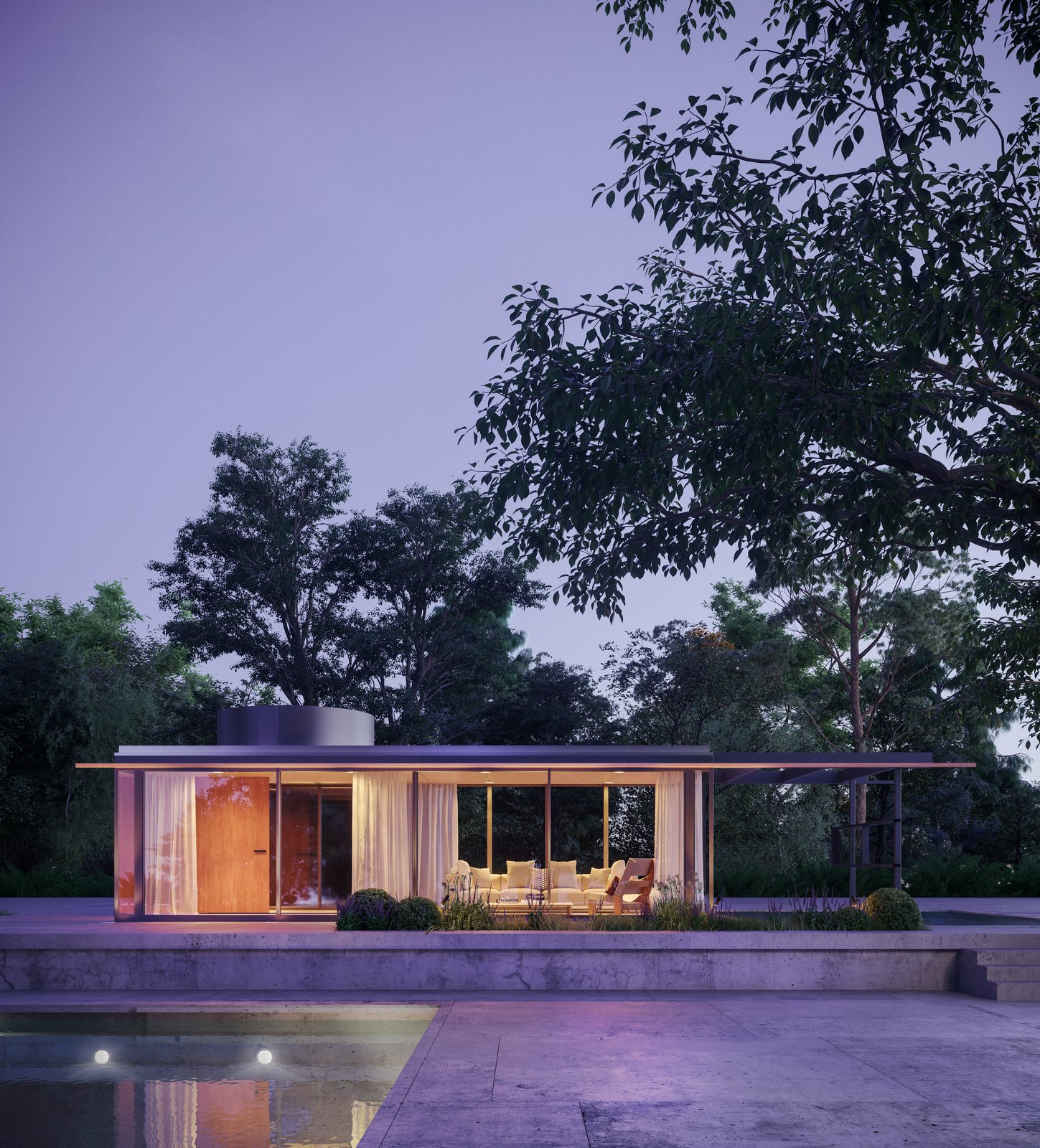 The VDL Penthouse measures 39' x 12', and it's a direct replica of the penthouse built for Neutra's VDL Research Home.