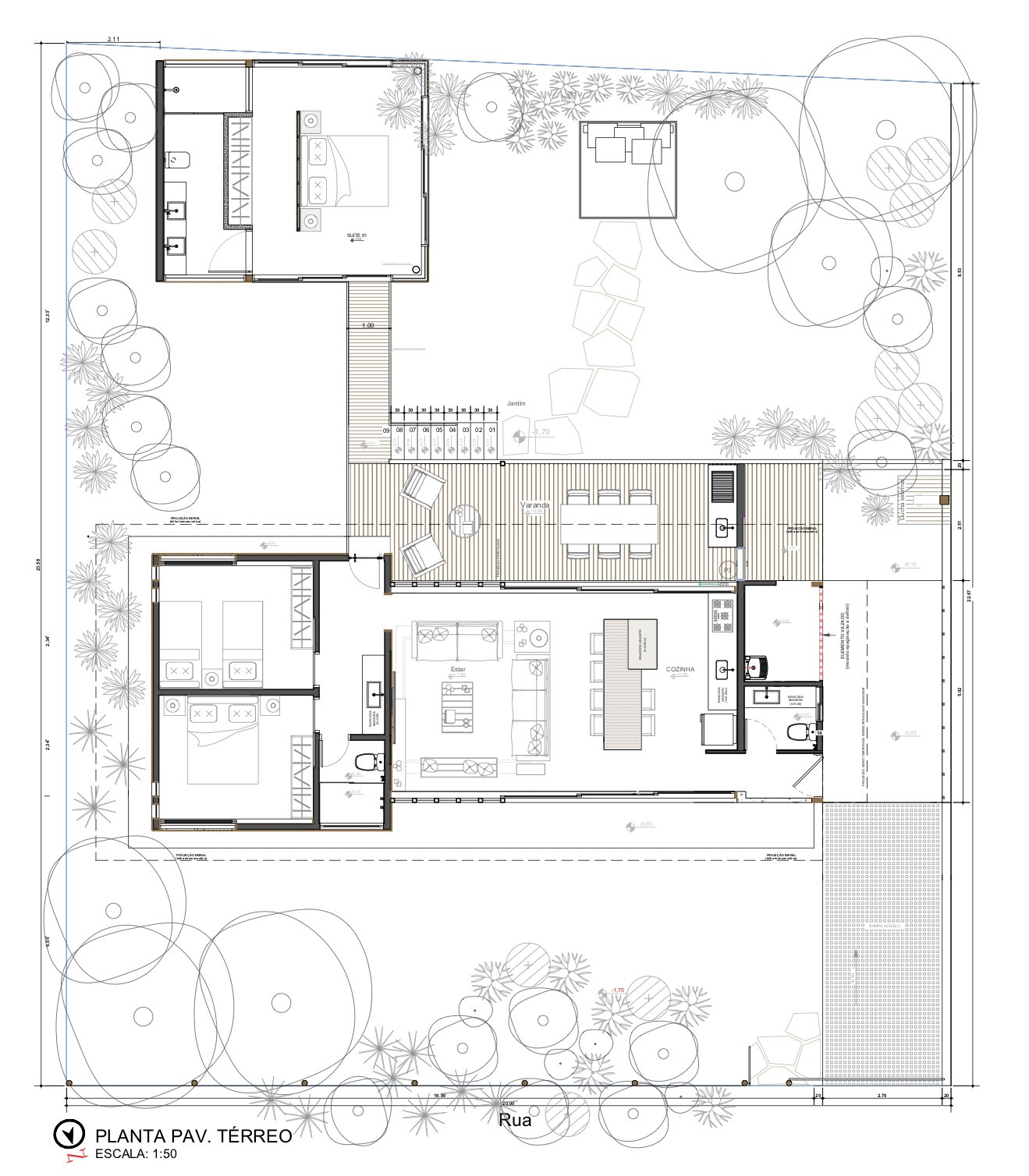El plano de planta incluye un edificio no construido que comprende un dormitorio y un baño adicionales.