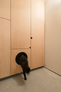 Custom millwork maximizes storage throughout the home. There is even a special location for the cat.