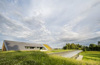"A ""green line"" extends out above the home's volume and runs along the fold of the gabled roof."
