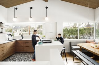For this growing and active family, the open concept works great for cooking and dining, with plenty of storage space for all the family's cooking and dining essentials.