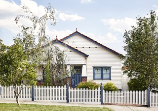 The home's restored front facade stays true to the character of this Melbourne suburb.
