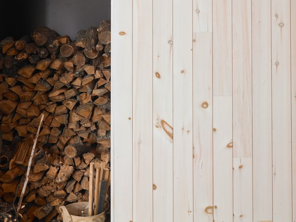 The light and bright interior spaces are clad in whitewashed pine.
