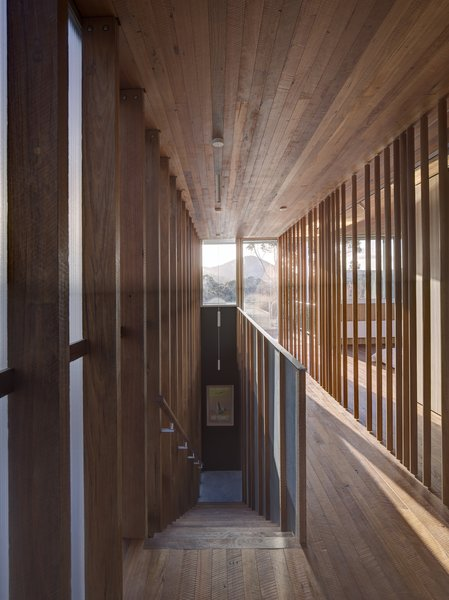 Inside, wood adds softness, texture, and warmth while allowing light to filter through.  At the stair and master bedroom loft above, timber is used as an architectural screening material which provides some partition between spaces.