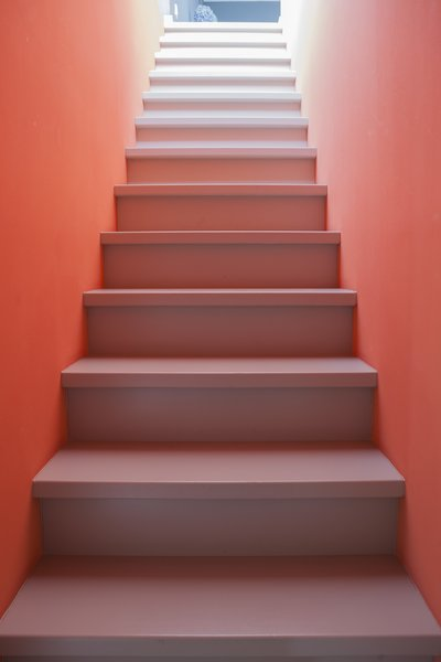 相同的预热灰色从地板到胎面继续,创建从下层到上层地板延伸的连续调色板。