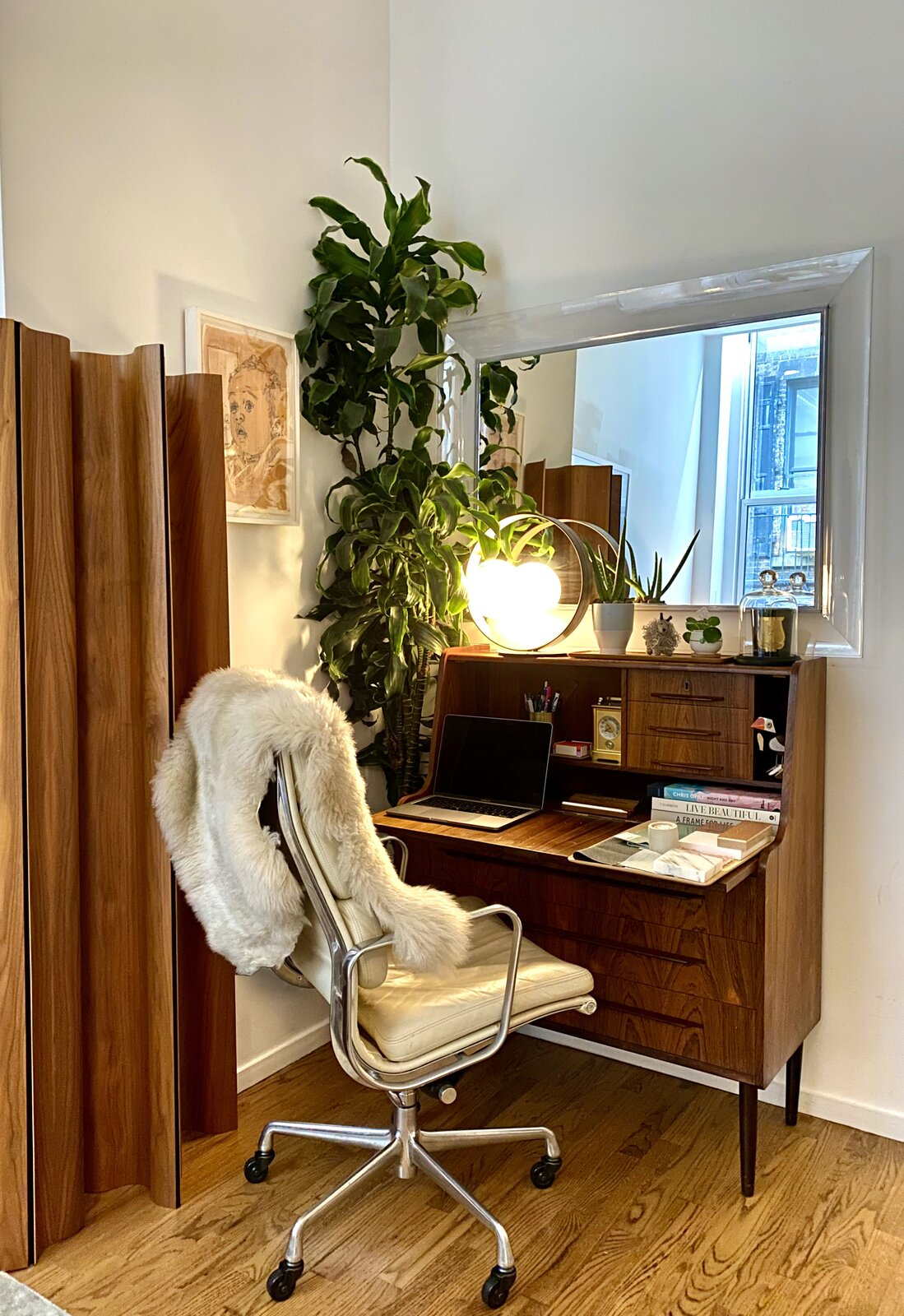 Though the office nook in designer Nina Blair's Tribeca loft has limited views, she brings in plants and natural wood textures to place an emphasis on the organic.  Photo 14 of 30 in How the Pandemic Is Reshaping Interior Design So Far