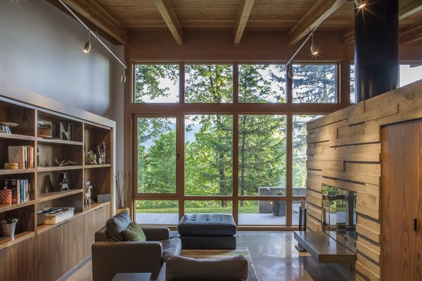 Living, Ceiling, Concrete, Chair, and Two-Sided Library  Best Living Two-Sided Ceiling Photos from Brightwood Cabin