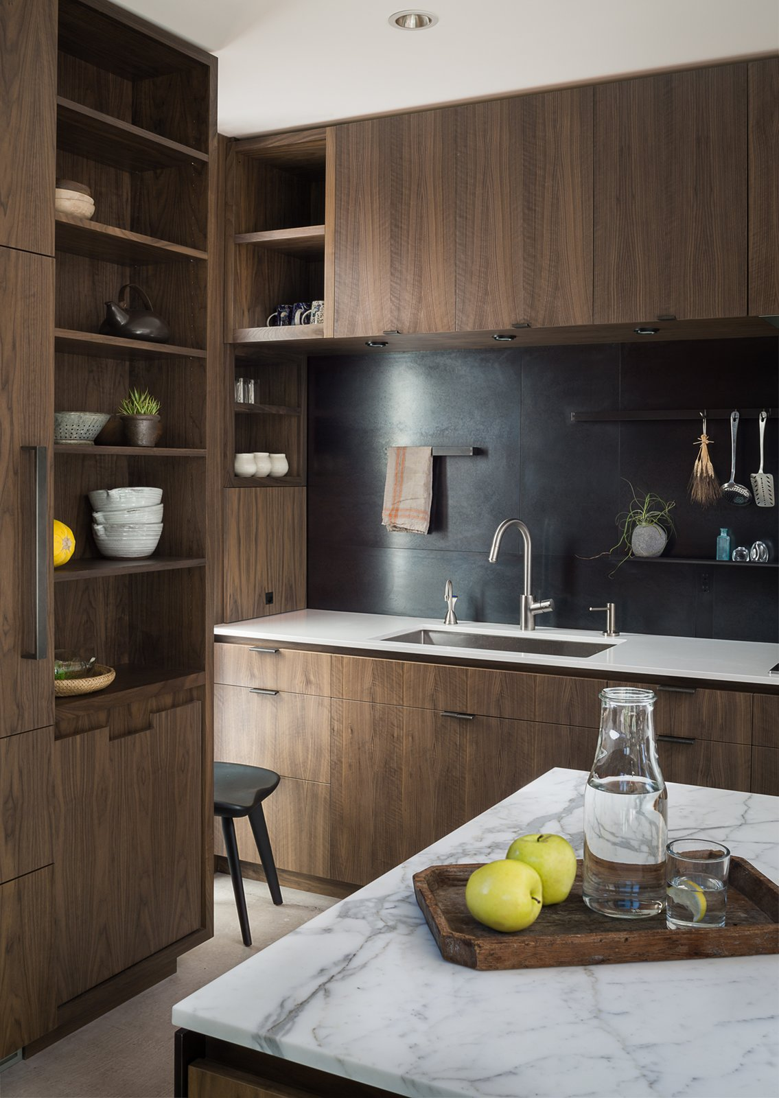 Kitchen, Wood Cabinet, and Marble Counter Helen Street by mw|works  Helen Street by mwworks