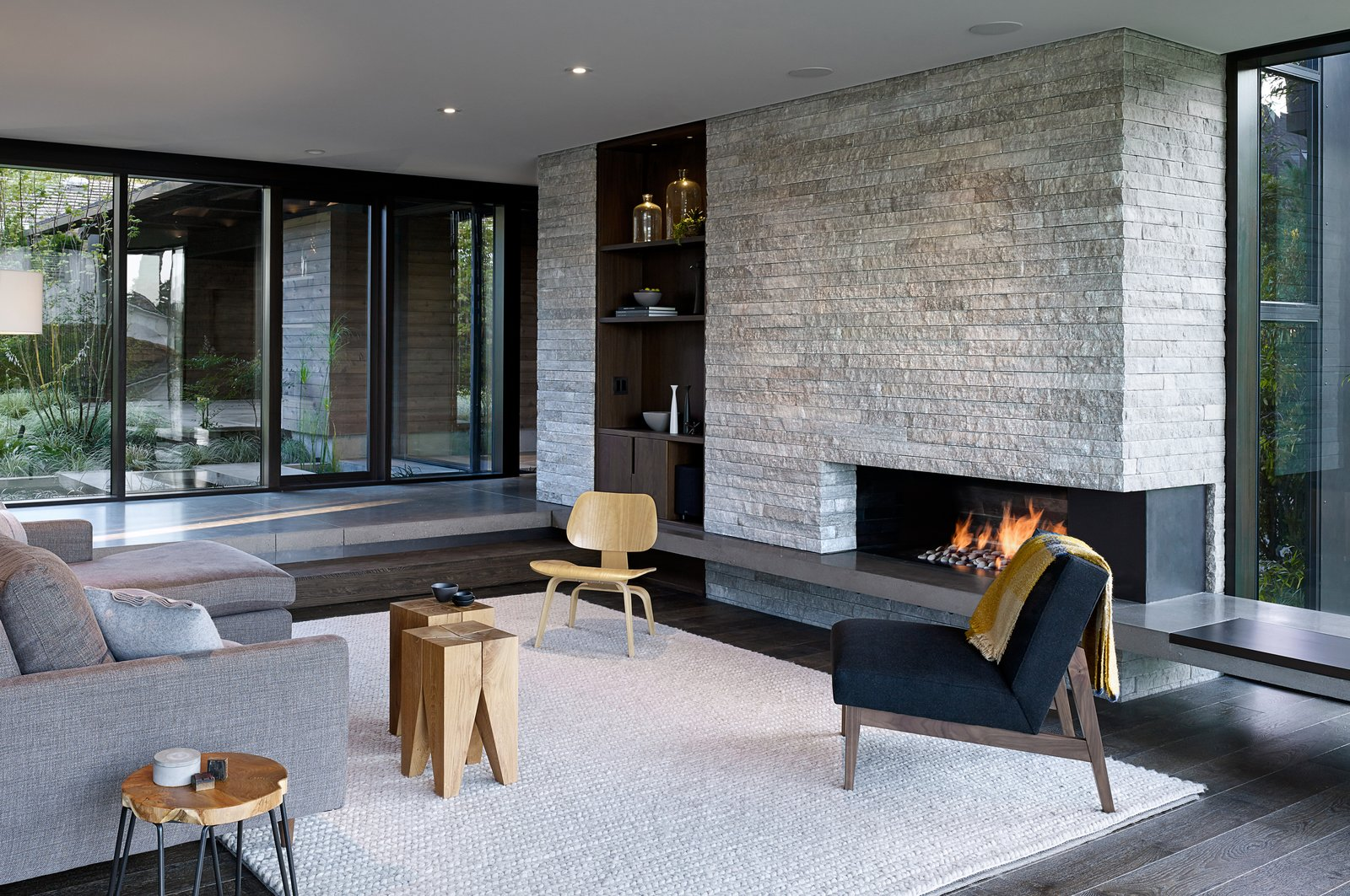 Living Room, Chair, Ceiling Lighting, Standard Layout Fireplace, Stools, and Recessed Lighting Laurelhurst Residence  Laurelhurst Residence by mw|works