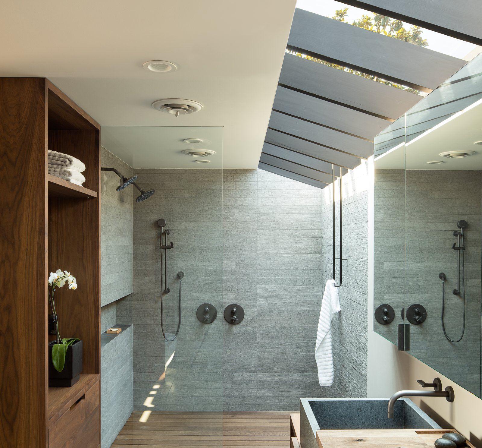 Bath Room, Wood Counter, and Stone Tile Wall Laurelhurst Residence  Laurelhurst Residence by mw|works