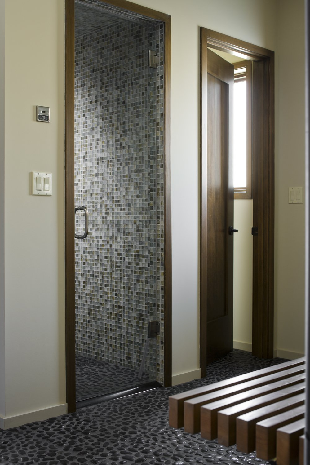 Bath Room, Enclosed Shower, and Mosaic Tile Wall Mountain View Residence  Mountain View Residence by SkB Architects