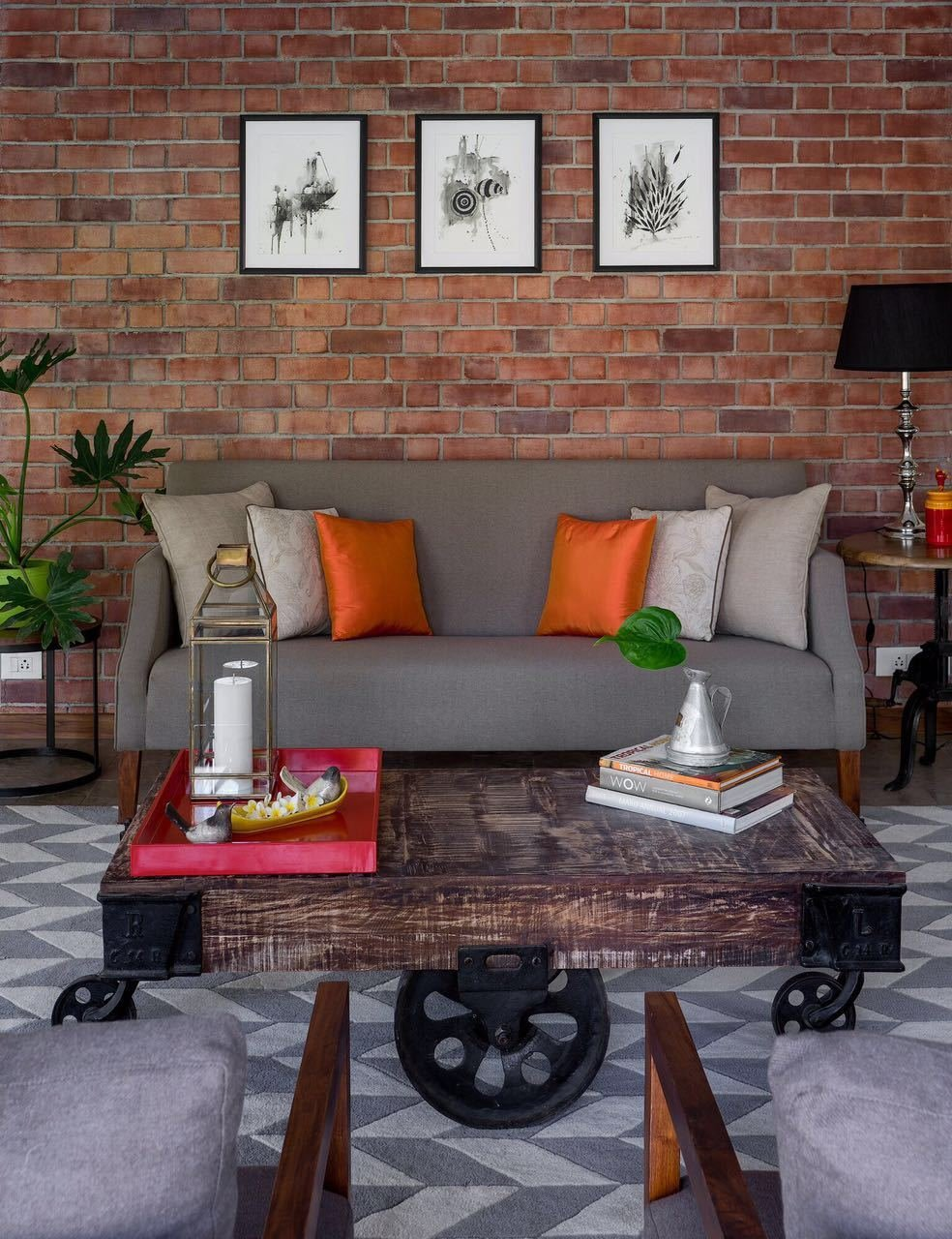Living Room, Sofa, Coffee Tables, End Tables, Lamps, Table Lighting, Accent Lighting, and Carpet Floor Tile-Bharat Floorings Group  Furniture- Boa Casa  Lighting- Deepam  Lighting- The Purple Turtles   Best Photos from VILLA AT ASSAGAO