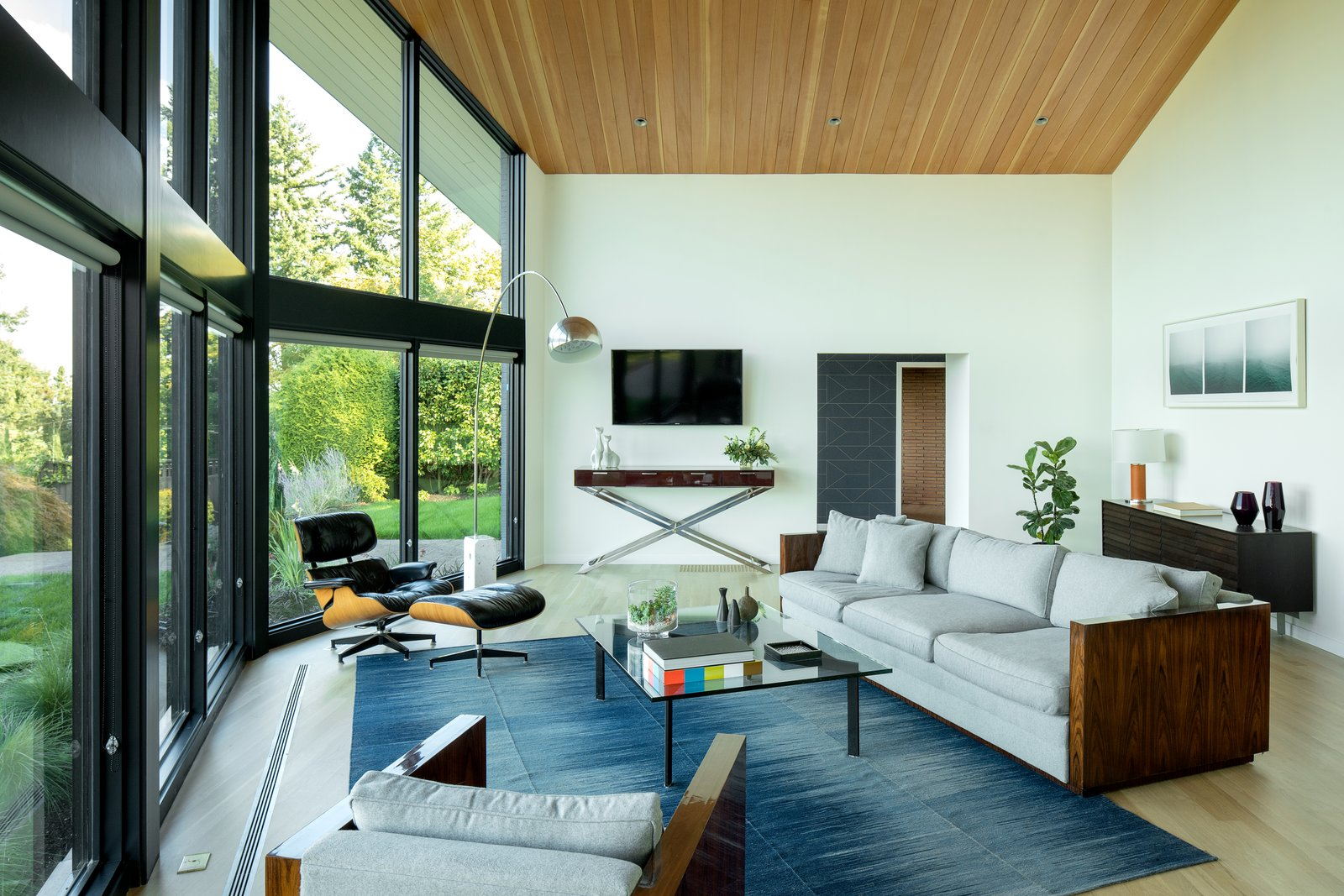 Living, Coffee Tables, Chair, Sofa, Ottomans, Console Tables, Lamps, Recessed, Floor, Light Hardwood, and Two-Sided Living room looking toward entry.  Best Living Lamps Two-Sided Photos from Mt. Tabor