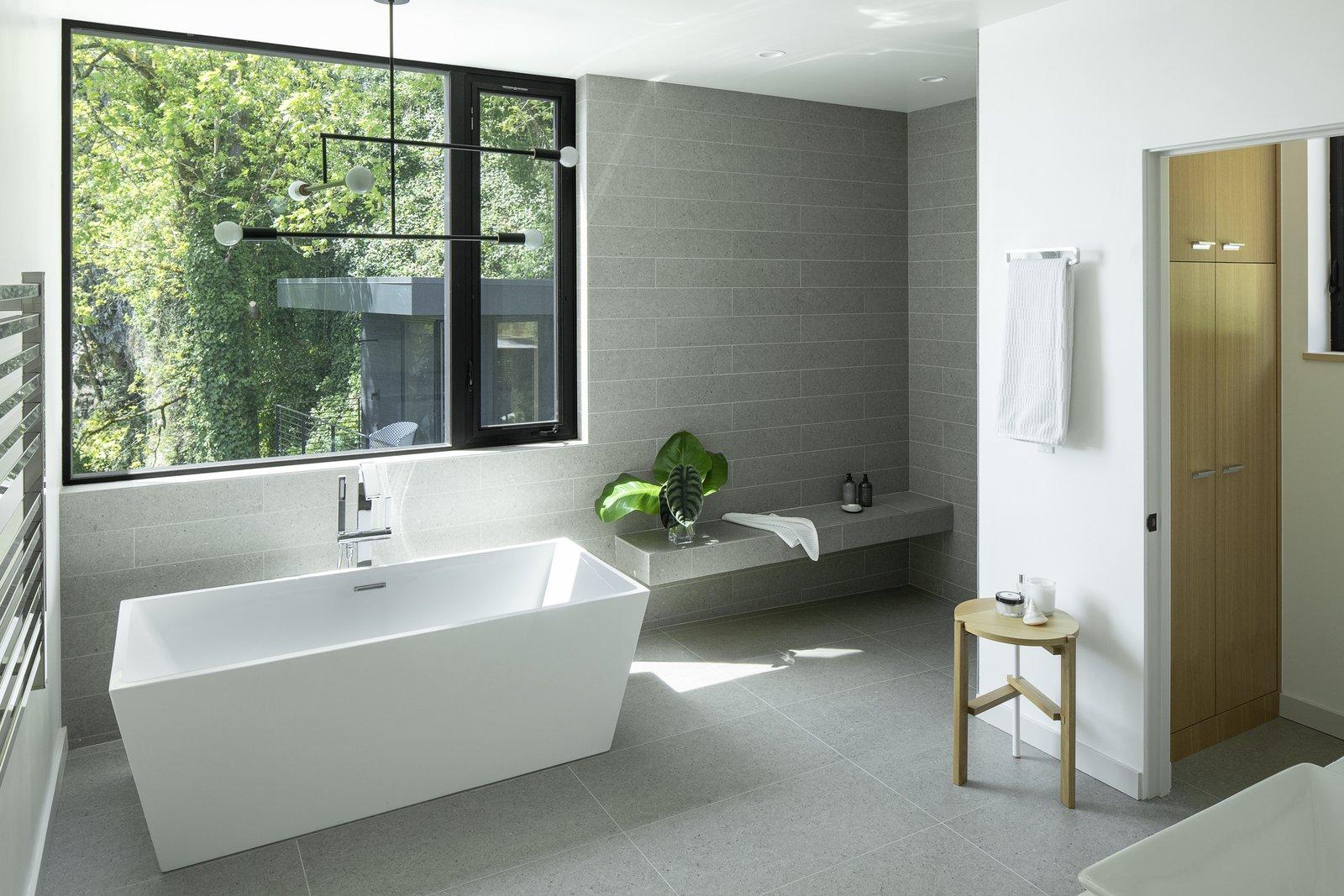 Bath, Porcelain Tile, Vessel, Quartzite, Ceiling, Recessed, Open, Porcelain Tile, and Freestanding Master Bathroom  Best Bath Recessed Porcelain Tile Photos