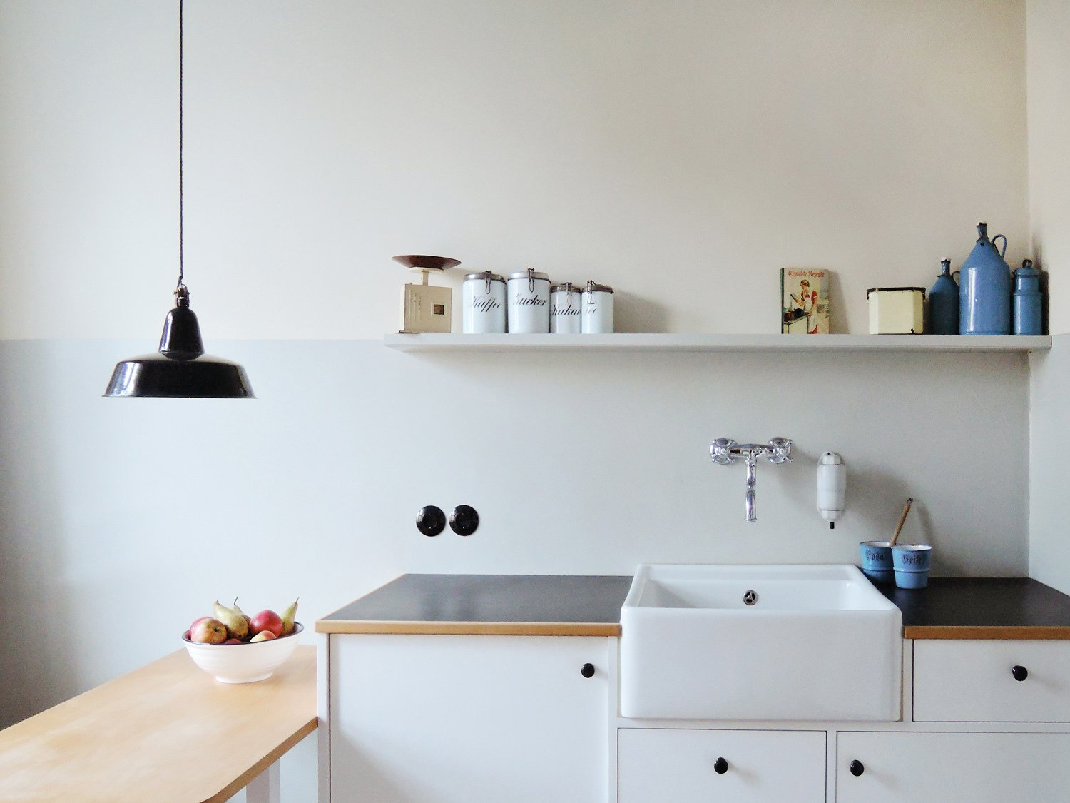 Kitchen, Laminate, White, Wood, Pendant, Track, Accent, Refrigerator, and Dishwasher kitchen design, modern comfort hidden + fully applicable  Best Kitchen White Track Photos from Taut´s Home (Tautes Heim) - Rentable museum of design and architecture of the 1920s