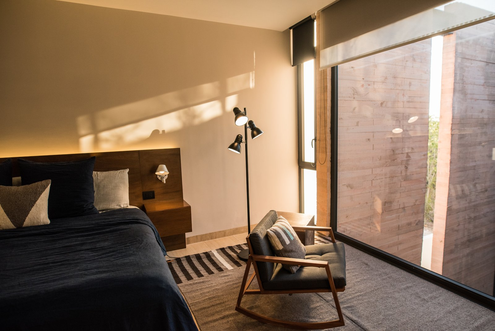Bedroom, Chair, Travertine Floor, Accent Lighting, Marble Floor, and Floor Lighting Bedroom  Casa Chaaltun by tescala