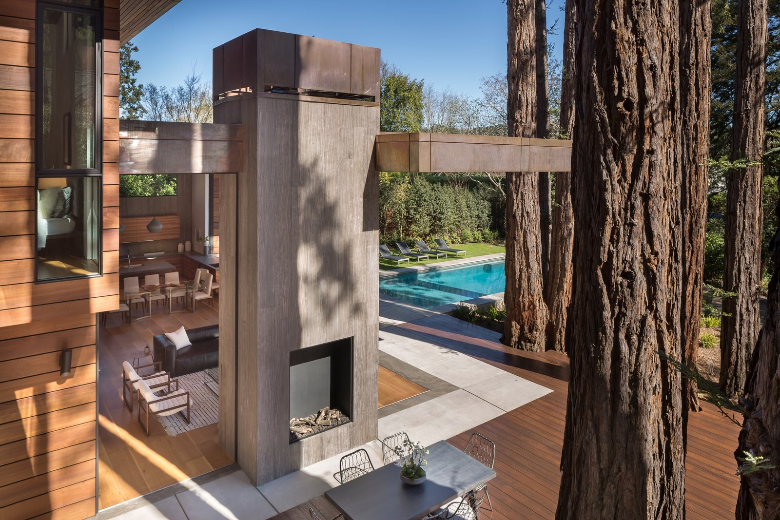 View from master deck. Notice copper wrapped cantilevered trellis.  Ross Modern