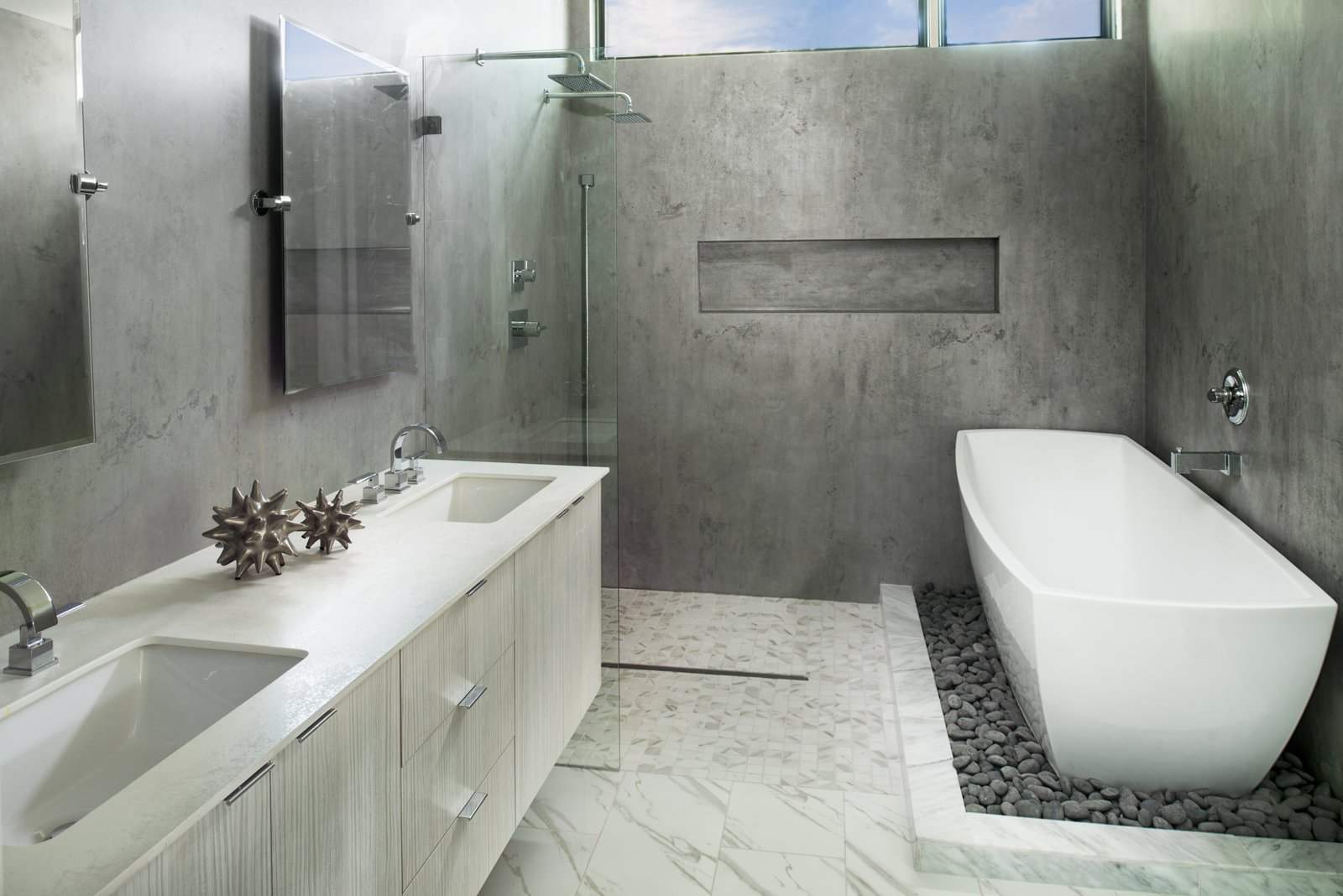 Bath, Engineered Quartz, Freestanding, Porcelain Tile, Open, Undermount, Wall, Recessed, One Piece, and Stone Slab Owners Bath  Best Bath Undermount Freestanding Recessed Photos from Sanders
