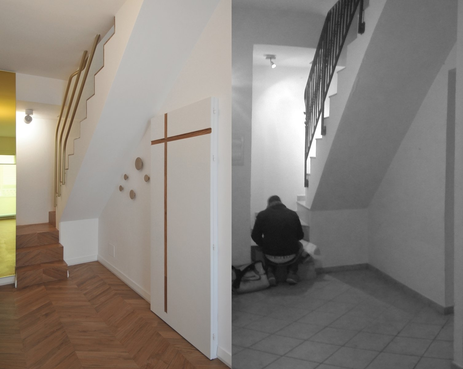 Staircase, Wood Tread, and Metal Railing before and after photos of the staircase  cdr