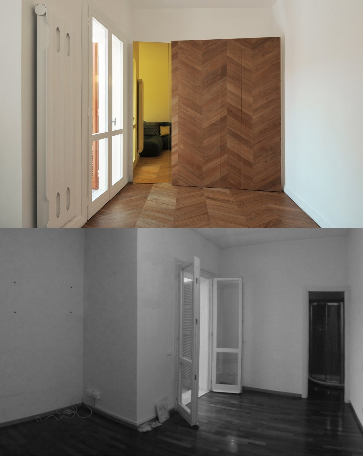 before and after photos of the living room  cdr