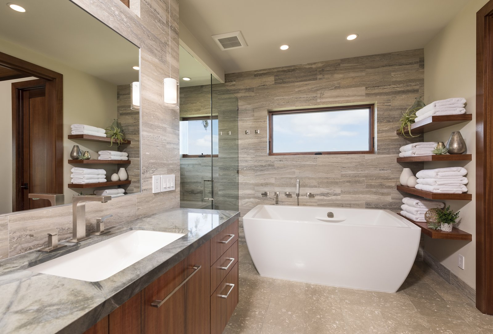 Bath, Granite, Undermount, Freestanding, Limestone, Open, Recessed, and Stone Tile Master Bathroom  Best Bath Limestone Recessed Photos from La Jolla Modern
