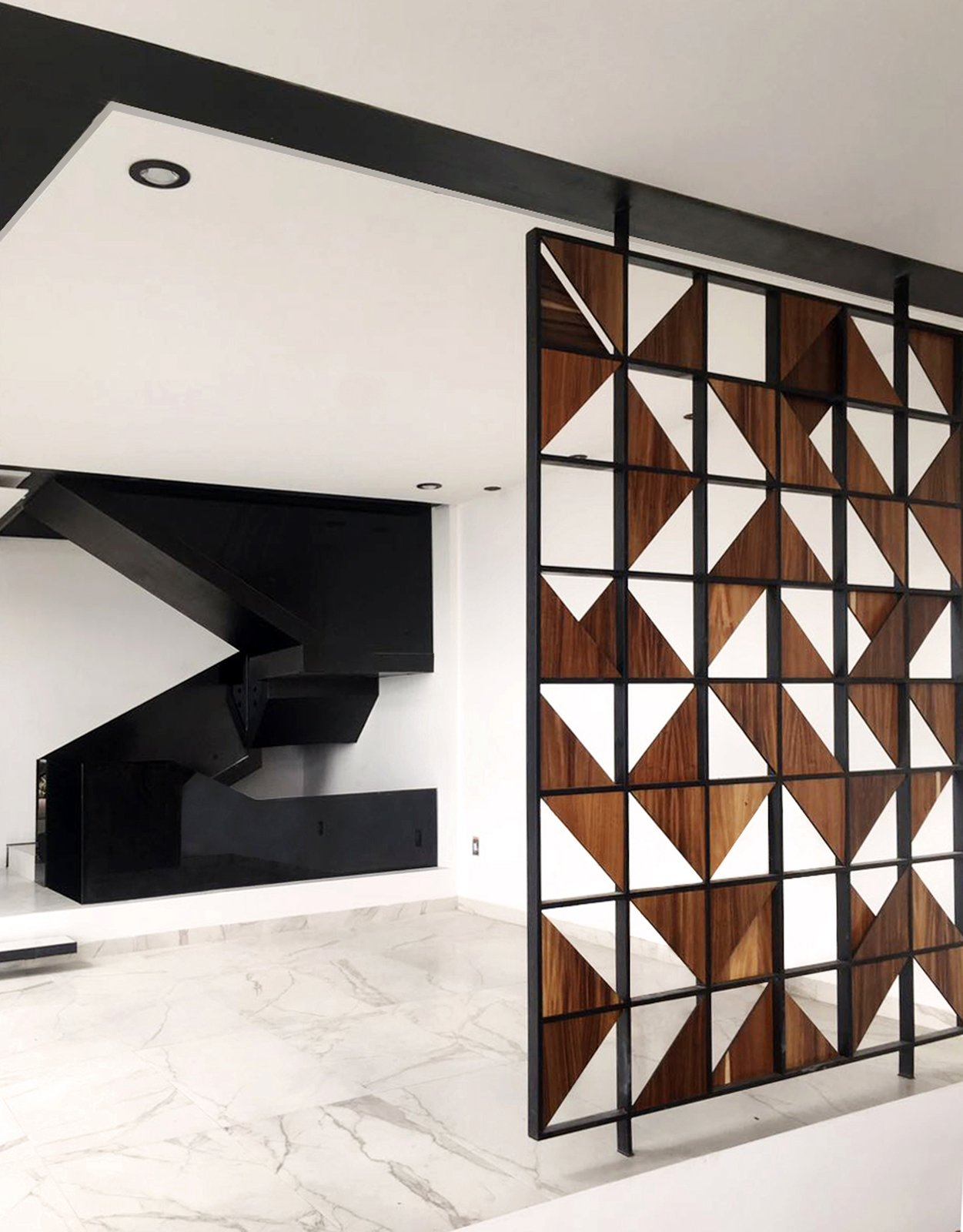 Dining Room, Shelves, and Porcelain Tile Floor Detail - Lattice and Stairs  Casa AB by e|arquitectos