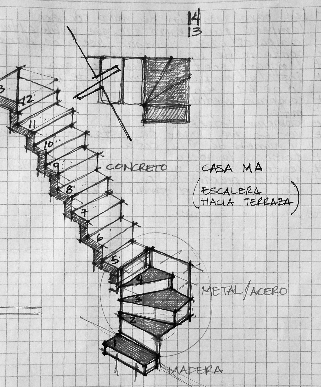 Sketch - Stairs  Casa MA by e|arquitectos