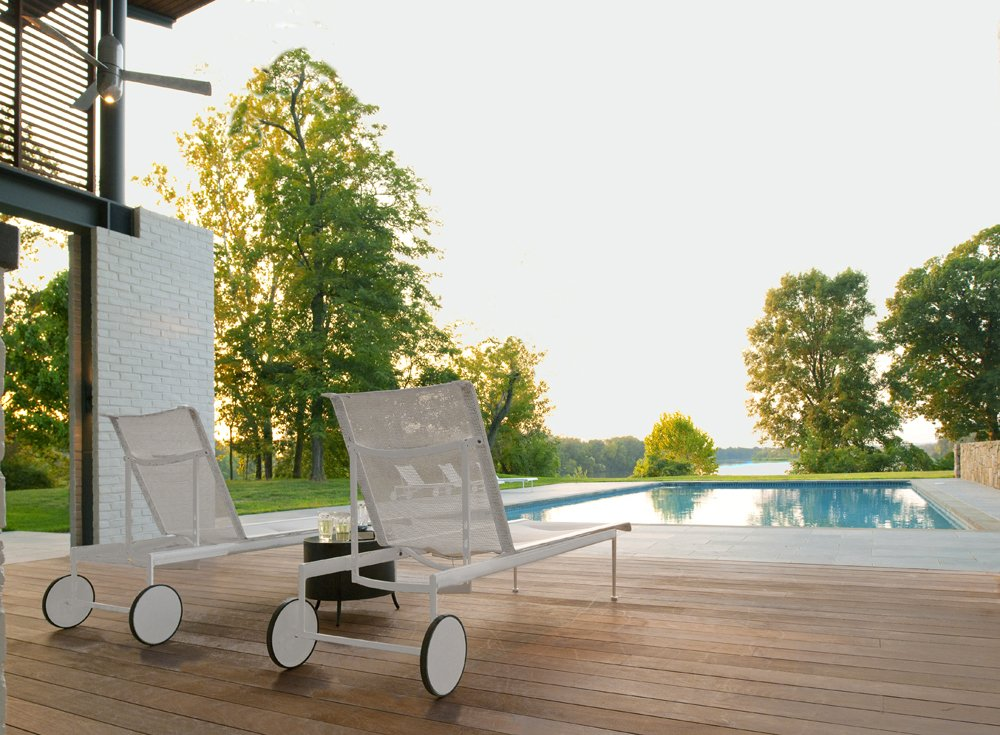 Outdoor, Small Pools, Tubs, Shower, Swimming Pools, Tubs, Shower, Large Pools, Tubs, Shower, Lap Pools, Tubs, Shower, Small Patio, Porch, Deck, Large Patio, Porch, Deck, Decking Patio, Porch, Deck, Wood Patio, Porch, Deck, Field, Stone Patio, Porch, Deck, and Back Yard The view of the river beyond.  A Summer House