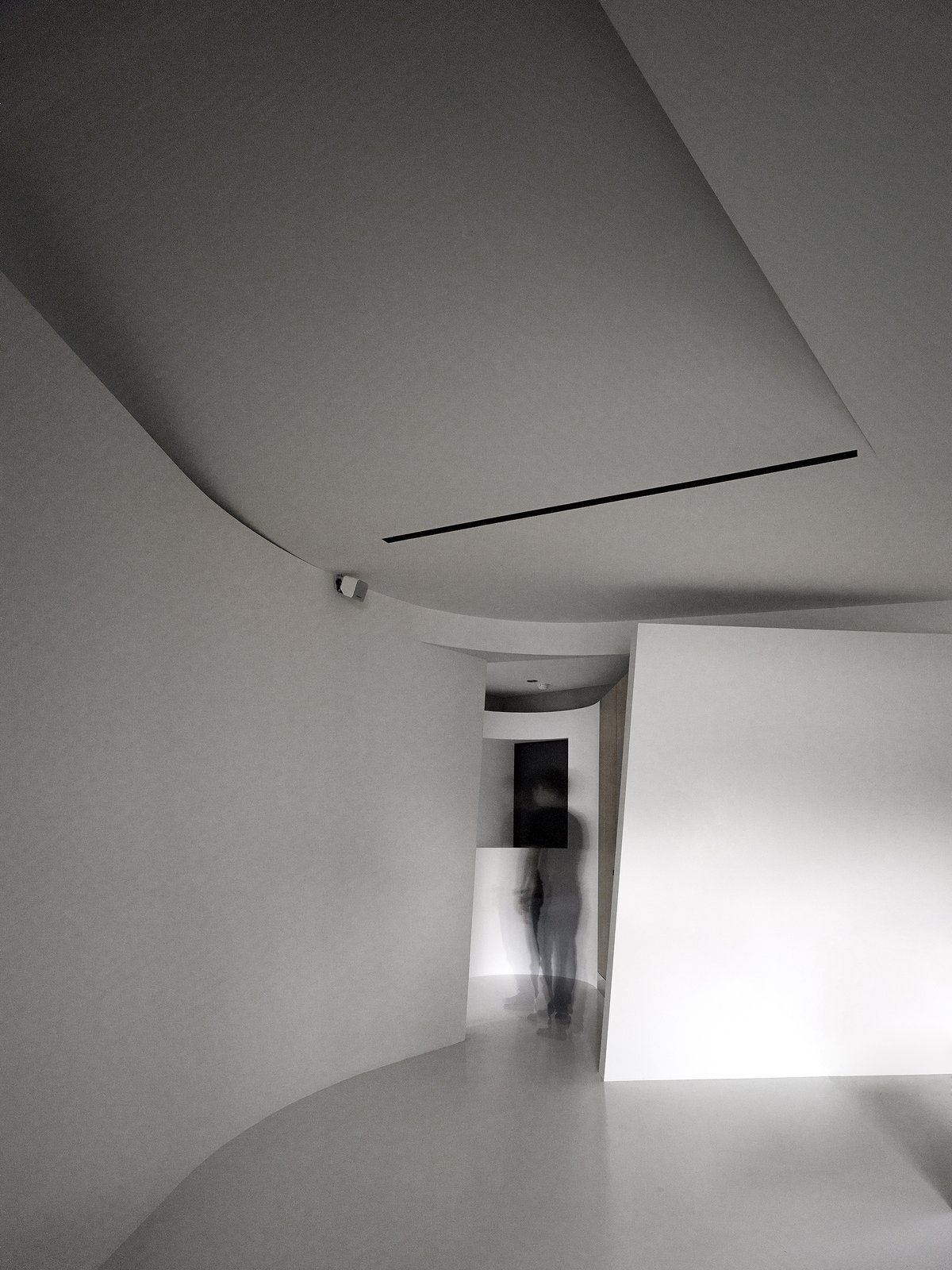 Interior, Living Room, Concrete Floor, and Ceiling Lighting After passing an in-between turning defined by two curved partitions, one enters the private area that contains a bedroom, a bathroom and a walk-in closet.   Fluid House