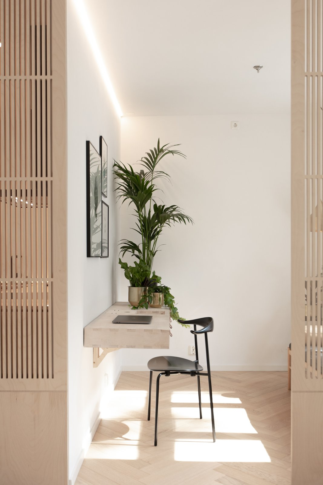 Office, Desk, Shelves, Medium Hardwood, Study, Bookcase, Storage, Chair, Lamps, and Library Work space  Best Office Lamps Library Photos from Scandinavian/Japanese concept home in Oslo city center