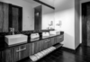 Modern home with Bath Room, Marble Counter, Quartzite Counter, Ceramic Tile Floor, Ceiling Lighting, and Glass Tile Wall. Main Bathroom Photo 6 of Santo Domingo Residence