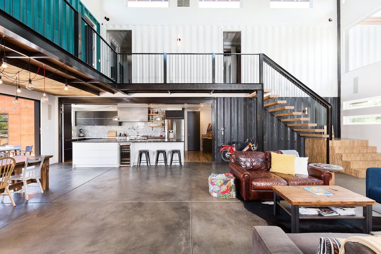 Living Room, Chair, Bench, Ceiling Lighting, End Tables, and Sofa Chris Boylen Photography  The Container house