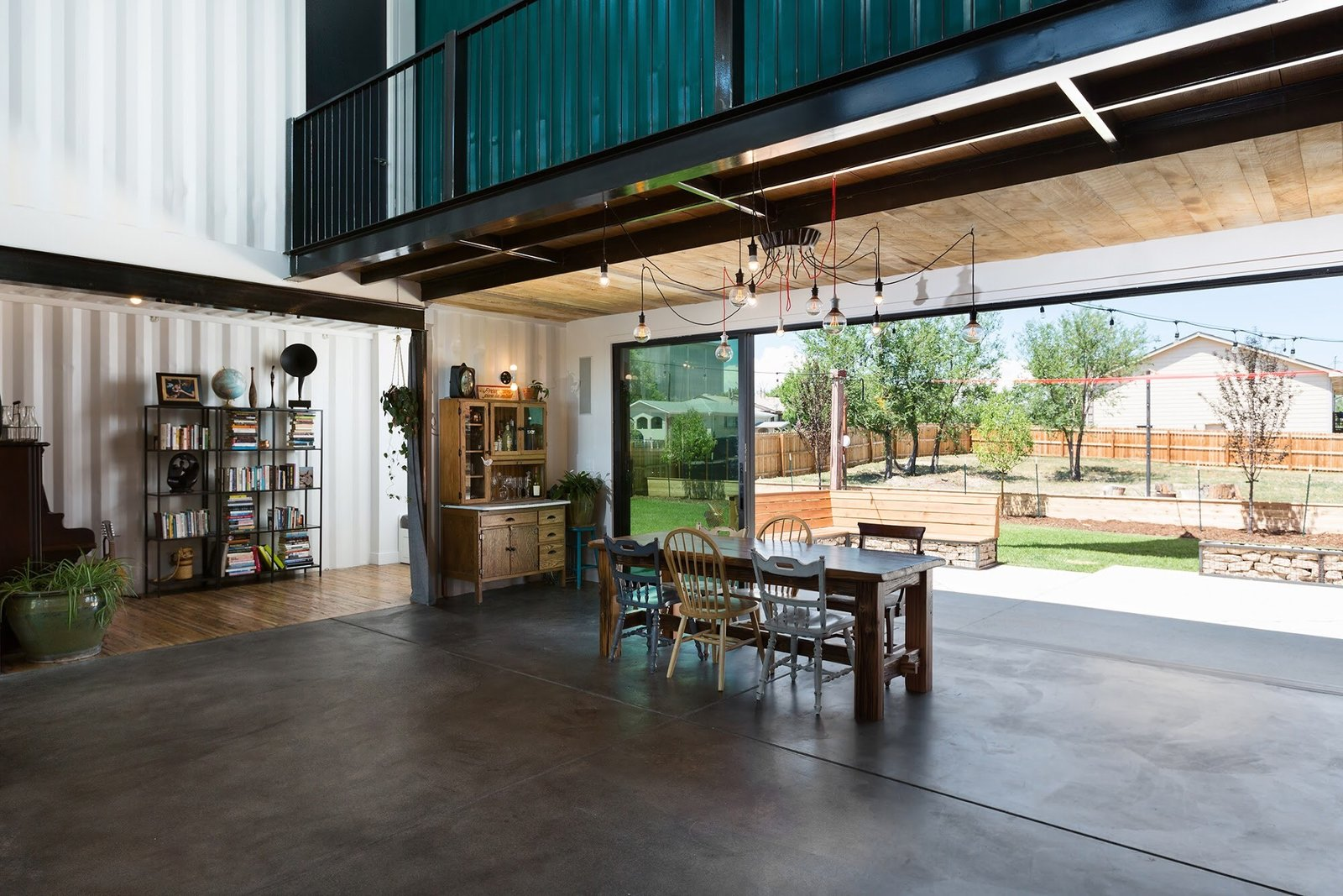 Dining Room, Ceiling Lighting, Table, and Bench Chris Boylen Photography  The Container house