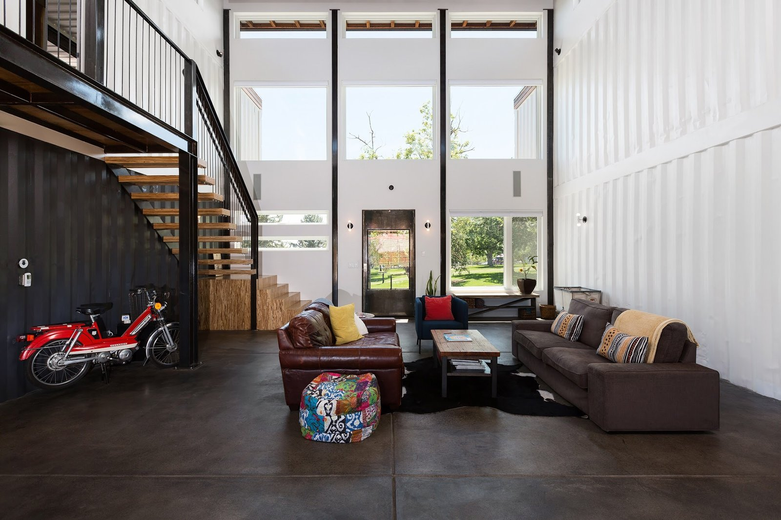 Living Room, Bench, Chair, Sofa, and End Tables Chris Boylen Photography  The Container house