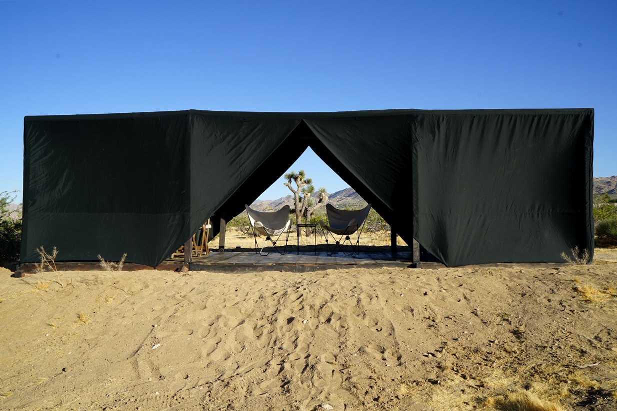 Outdoor Shown with door flaps in open position for a cross breeze  Joshua Tree Case Study Cabin by Mike Vensel