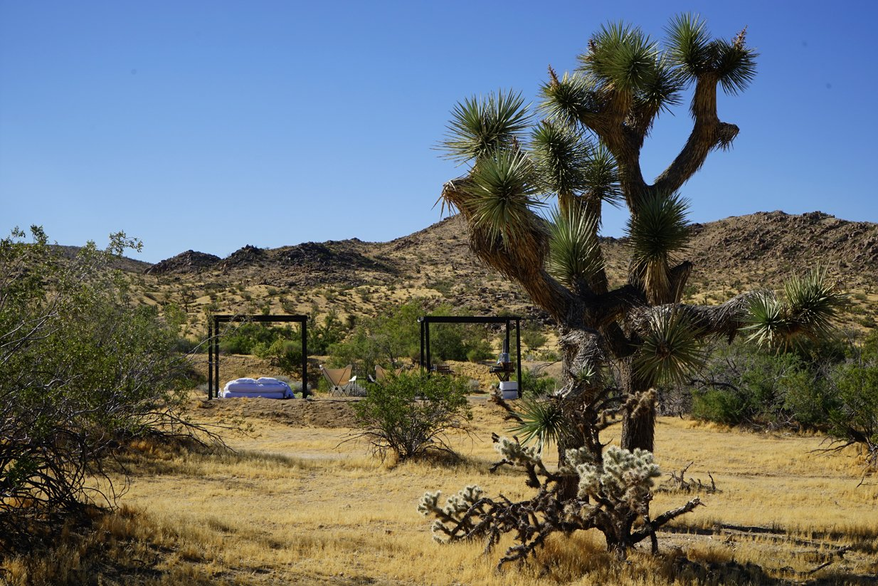 Shown with the fabric shell removed in convertible mode  Joshua Tree Case Study Cabin by Mike Vensel