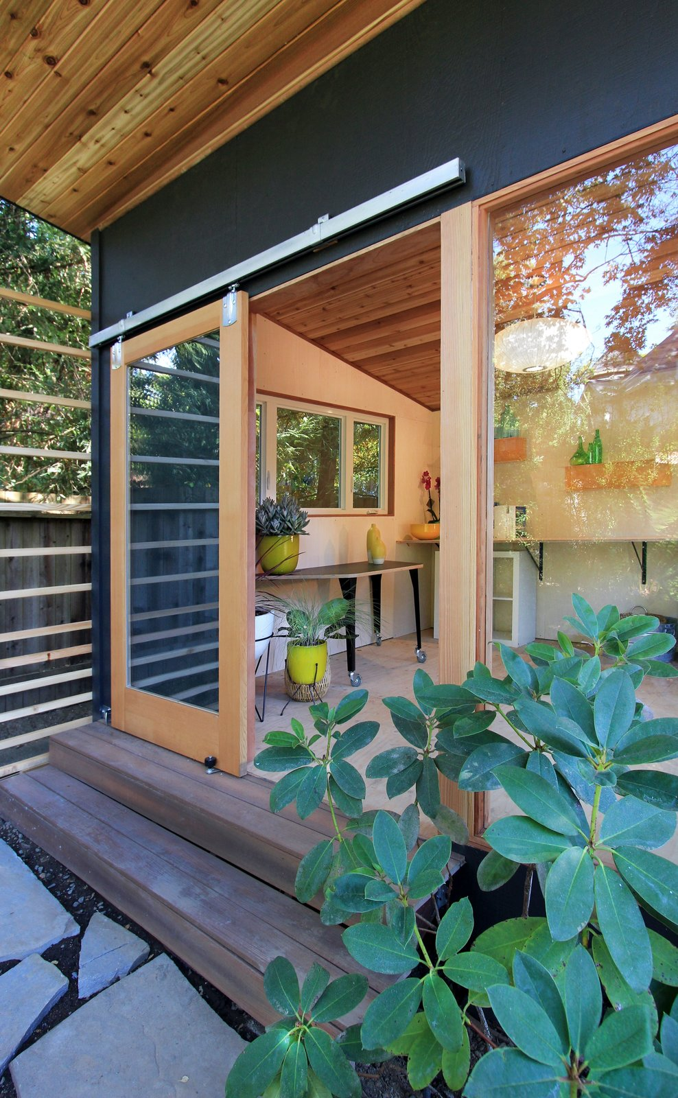 Doors, Exterior, Wood, and Sliding Door Type The Shudio entrance.  The Shudio by Melissa Hanley