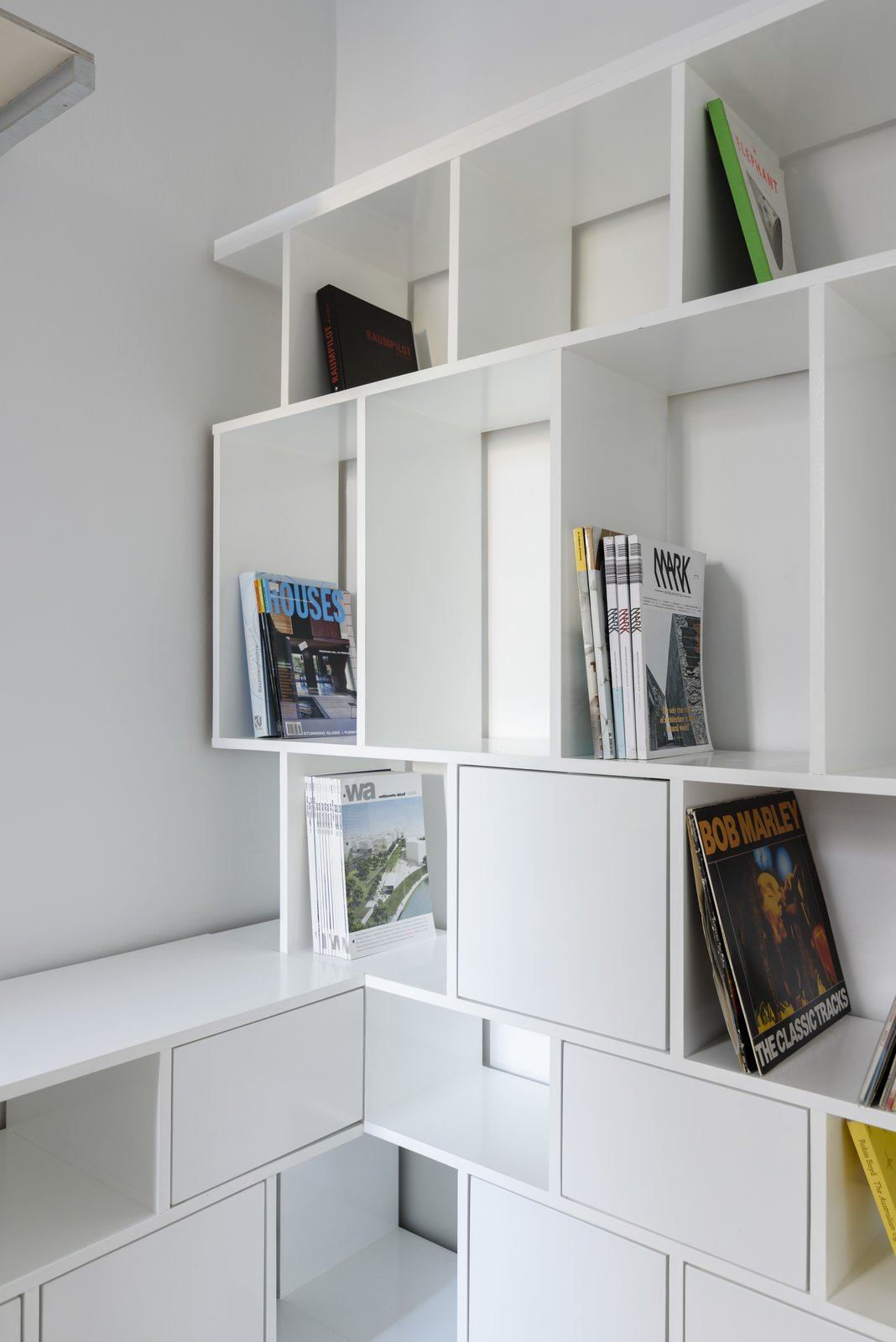 Storage Room, Shelves Storage Type, and Cabinet Storage Type Cabinetry detail  Curtain Cottage