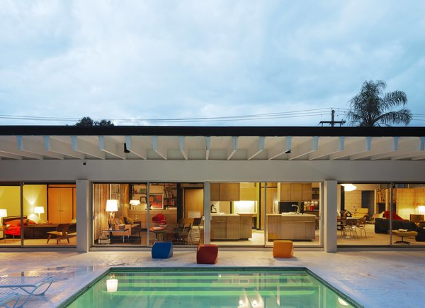 Gene Leedy's unusually concrete double T construction makes the house stand out on its block, and provides an extended 7 feet of indoor/outdoor living space.