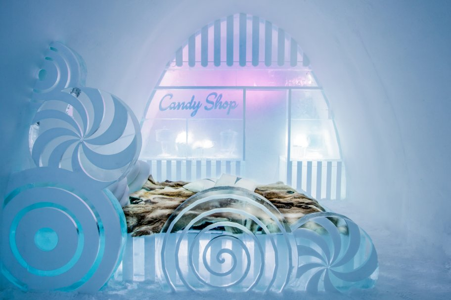 Icehotel Sweden candy shop  ice suite