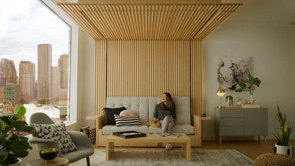 The Ori Cloud Bed in sofa mode.