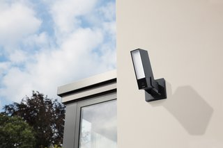 Netatmo's outdoor camera replaces an existing outdoor light for easy installation.