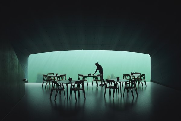 A 36-foot-wide and 11-foot-tall horizontal acrylic window—cut into the one-and-a-half-foot-thick concrete walls at the end of the tube-shaped restaurant—provides a panoramic portal to the wildlife outside.
