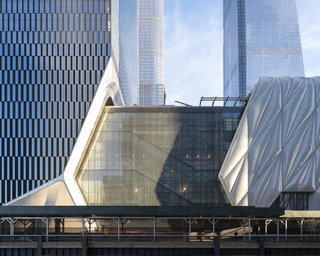 The Shed sits underneath the luxury condominium high-rise building 15 Hudson Yards.